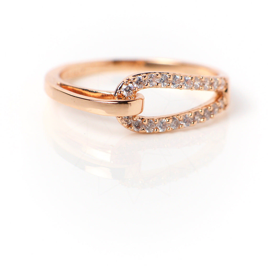 Bound - 18k rose gold plated ring with zirconium crystals  1