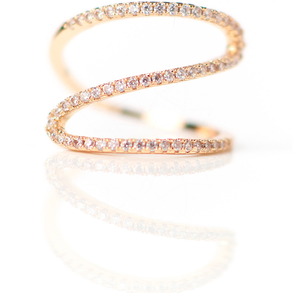 Meander - 18k rose gold plated ring with zirconium crystals 1