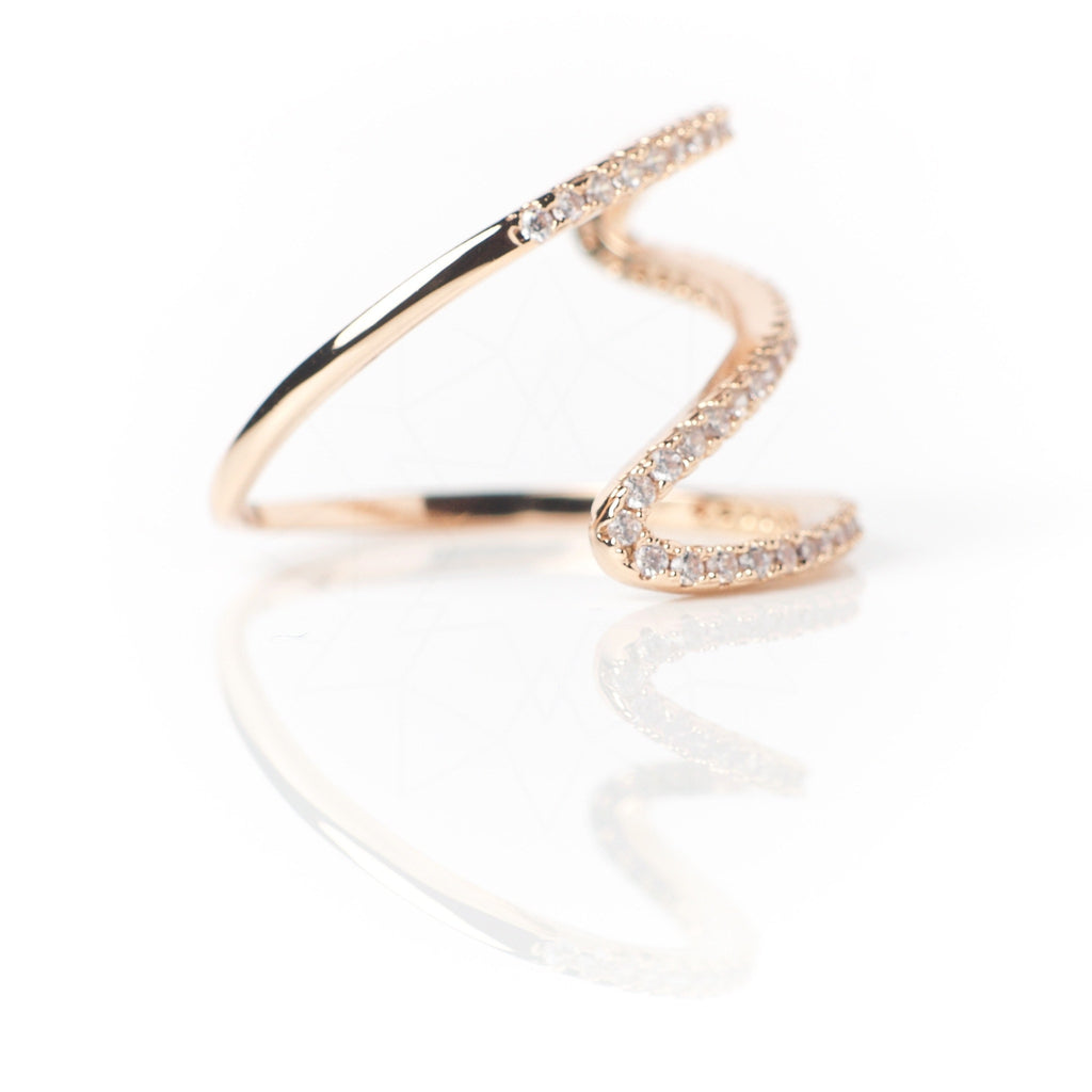 Meander - 18k rose gold plated ring with zirconium crystals 3