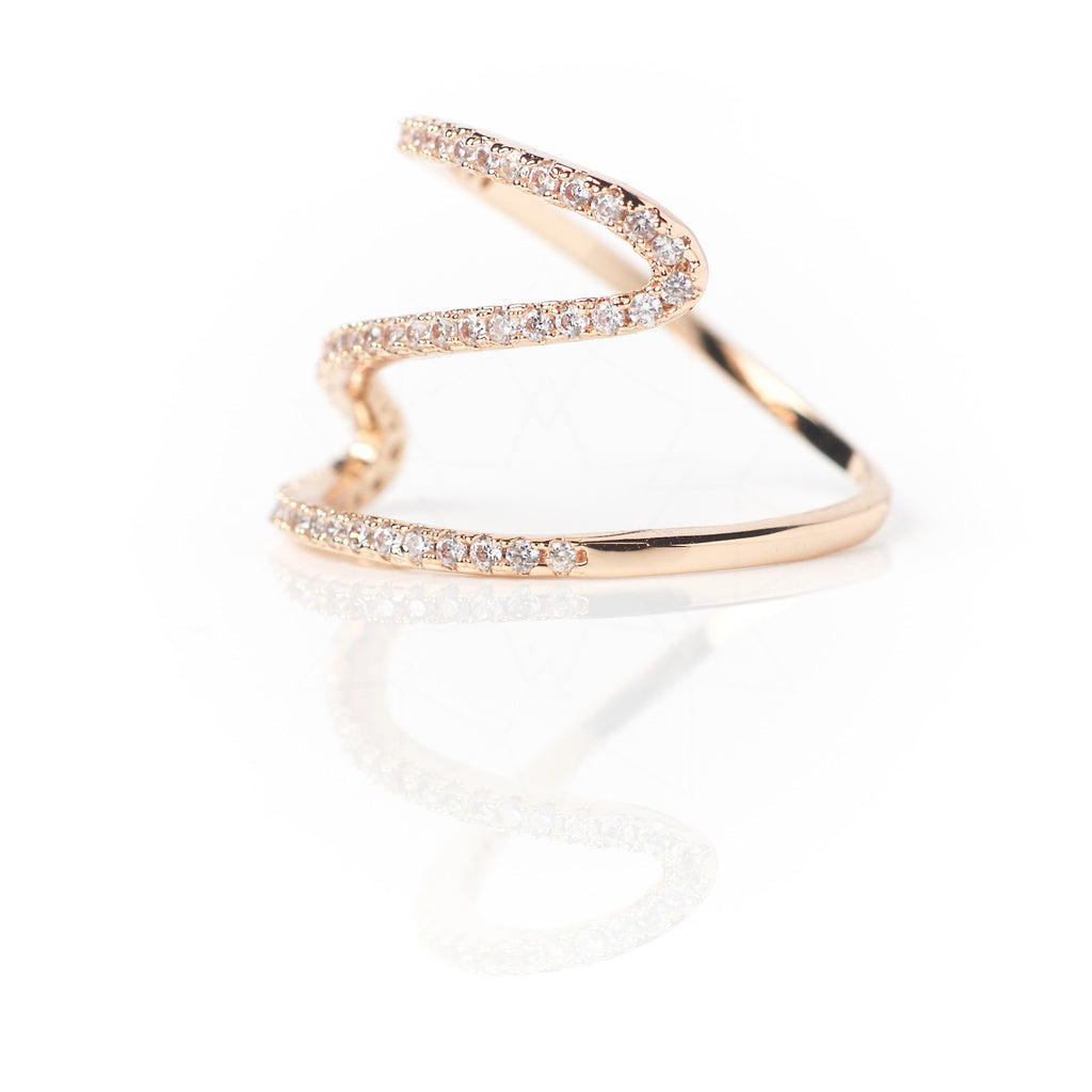 Meander - 18k rose gold plated ring with zirconium crystals 2