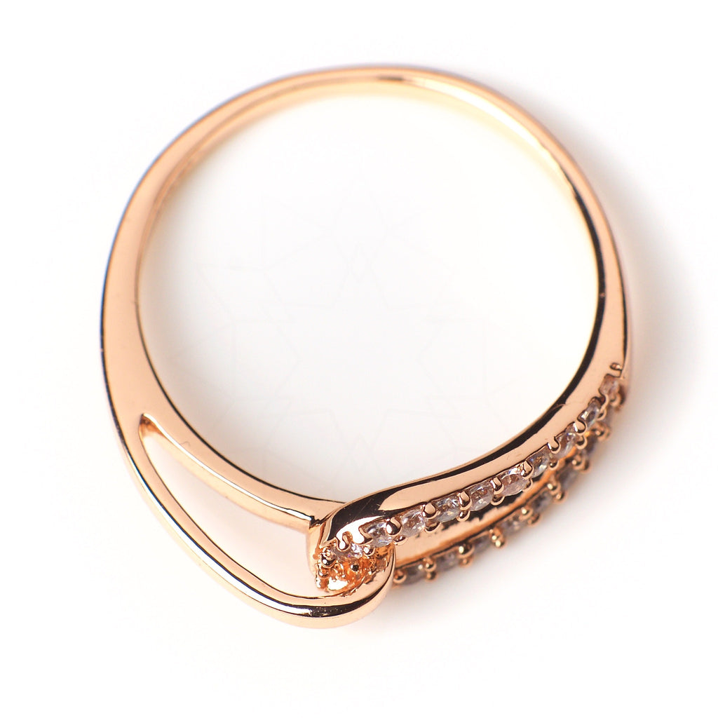 Bound - 18k rose gold plated ring with zirconium crystals 2