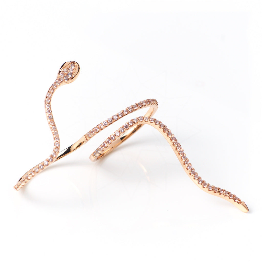 Sin - 18k rose gold plated ring with zirconium crystals 4