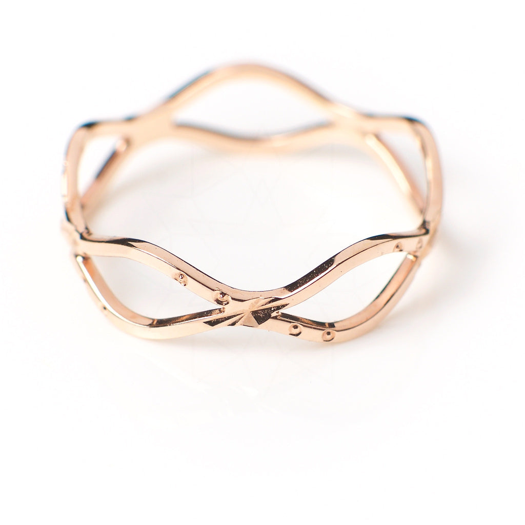 Waves - 18k rose gold plated ring 2
