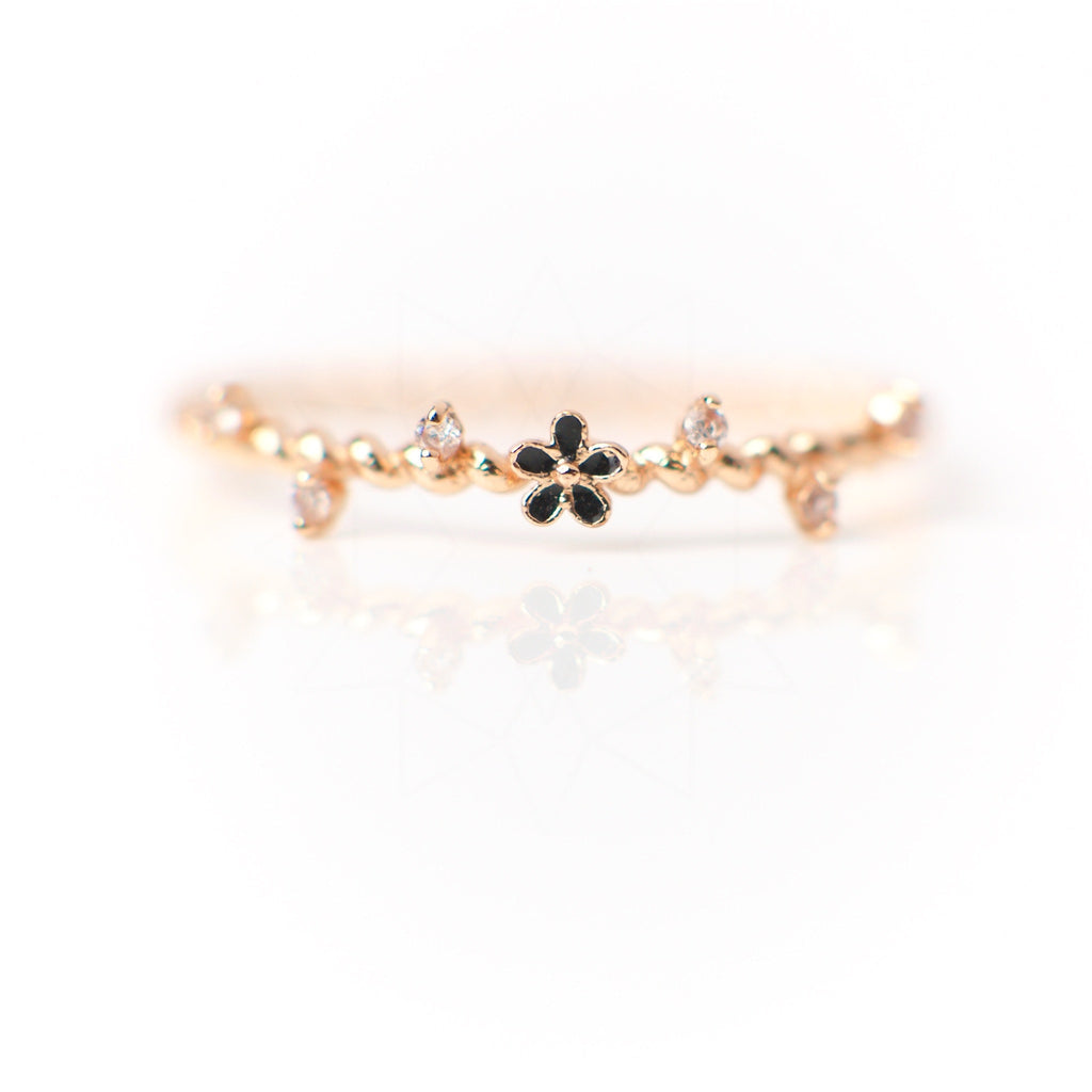Sânziene - 18k rose gold ring with zirconium crystals 1