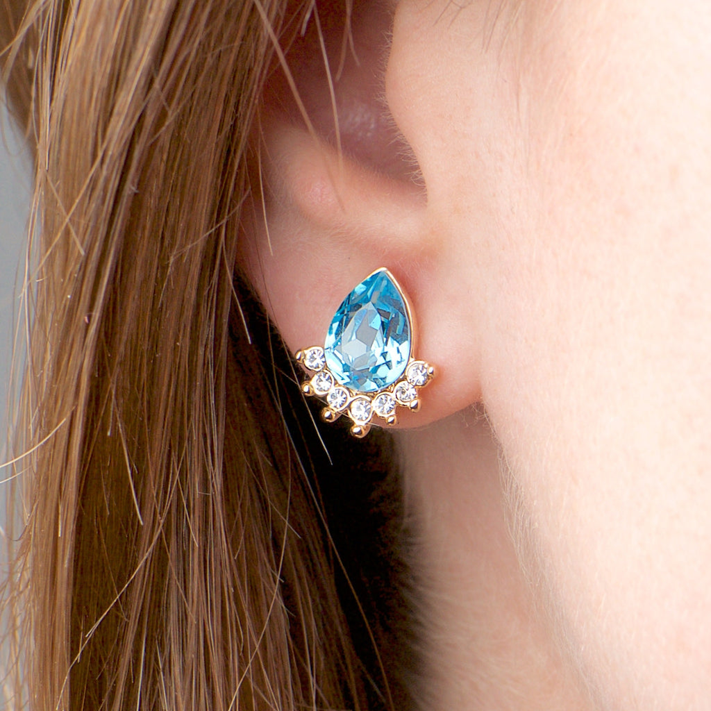 Ocean Deep - 18k rose gold plated earrings with zirconium crystals 2