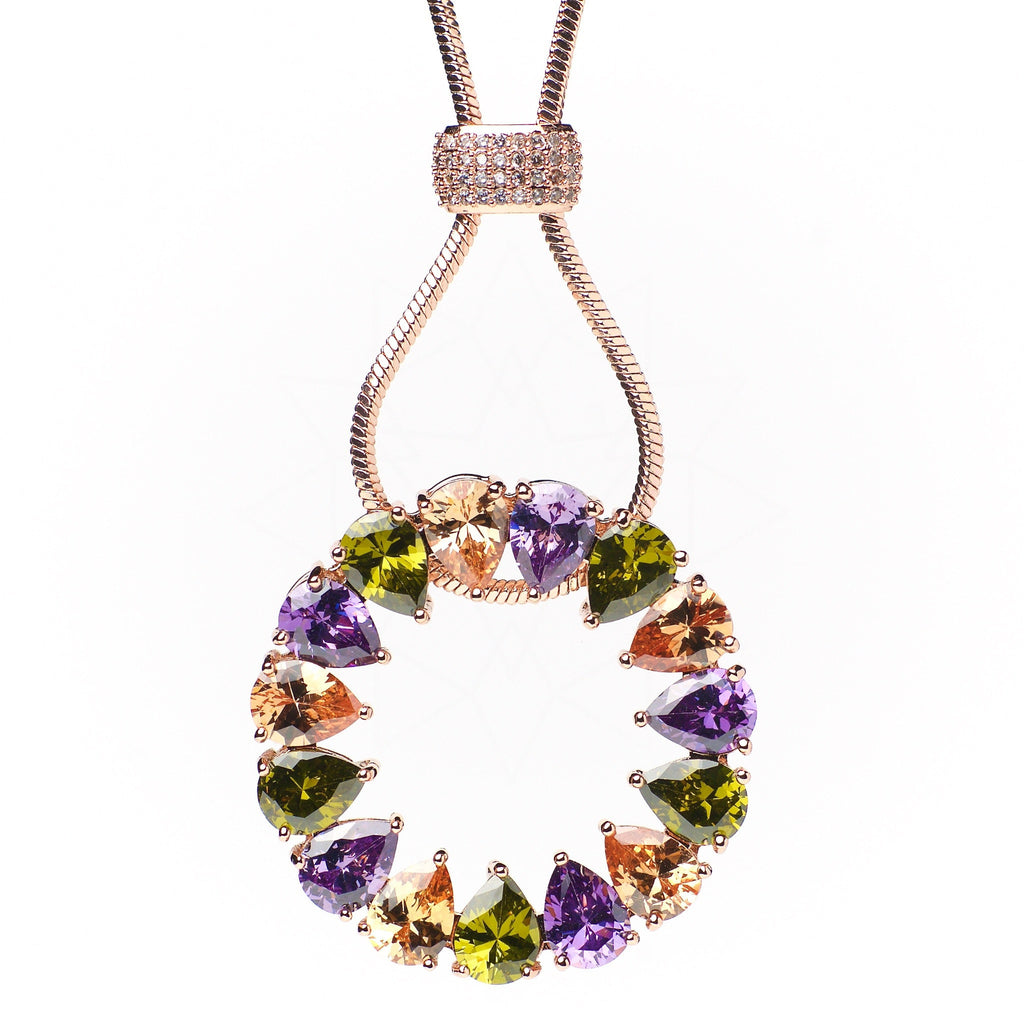 Solaris - 18k rose gold plated necklace with multicolour crystals 1