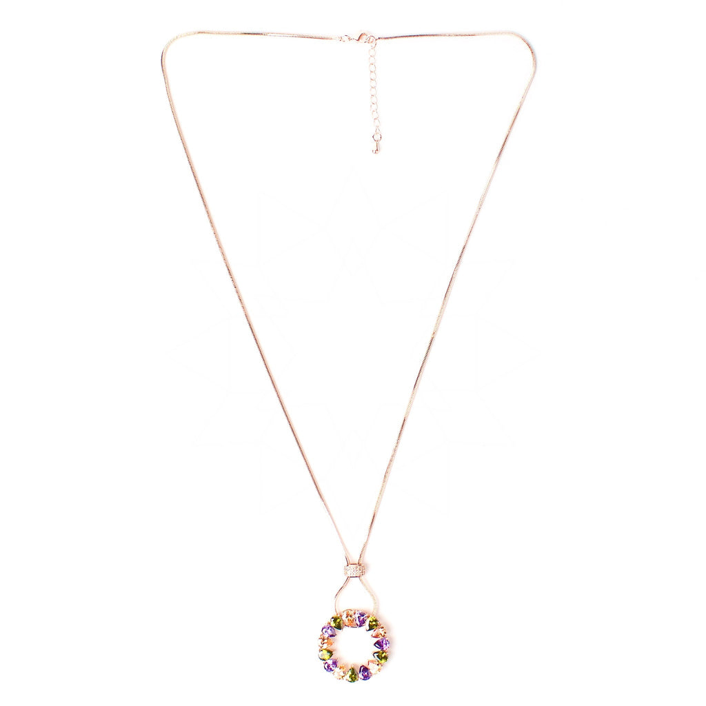 Solaris - 18k rose gold plated necklace with multicolour crystals 3