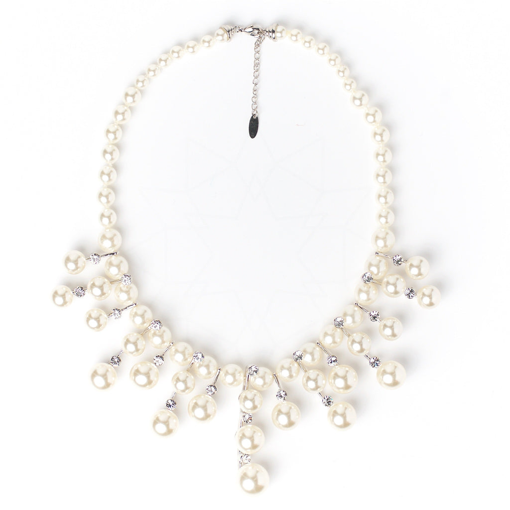 White Siren - Platinum plated necklace with pearls and zirconium crystals 1