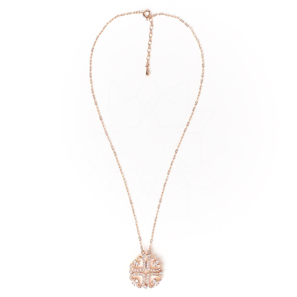 Quattro Cuori - 18k rose gold plated necklace with zirconium crystals 4
