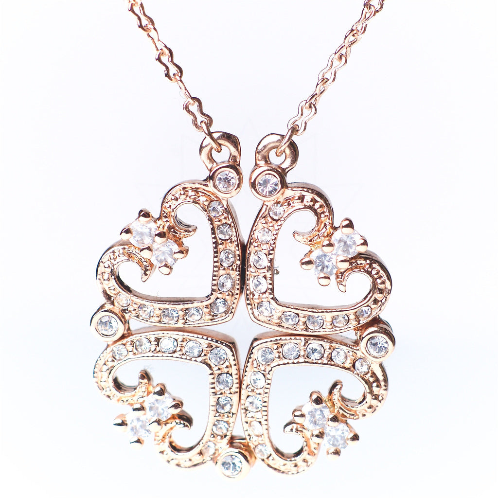 Quattro Cuori - 18k rose gold plated necklace with zirconium crystals 3