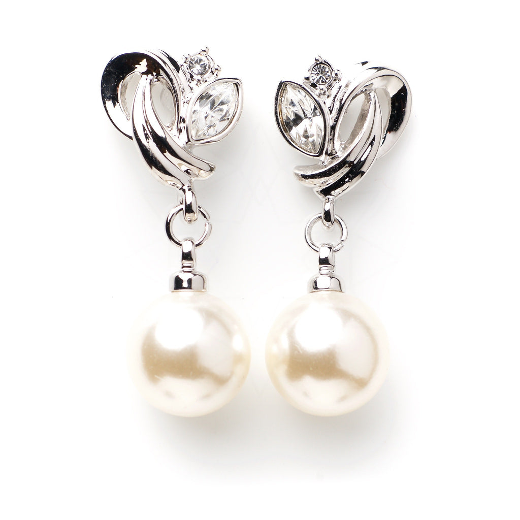 Atlantis - Platinum plated earrings with zirconium crystals and pearls 1