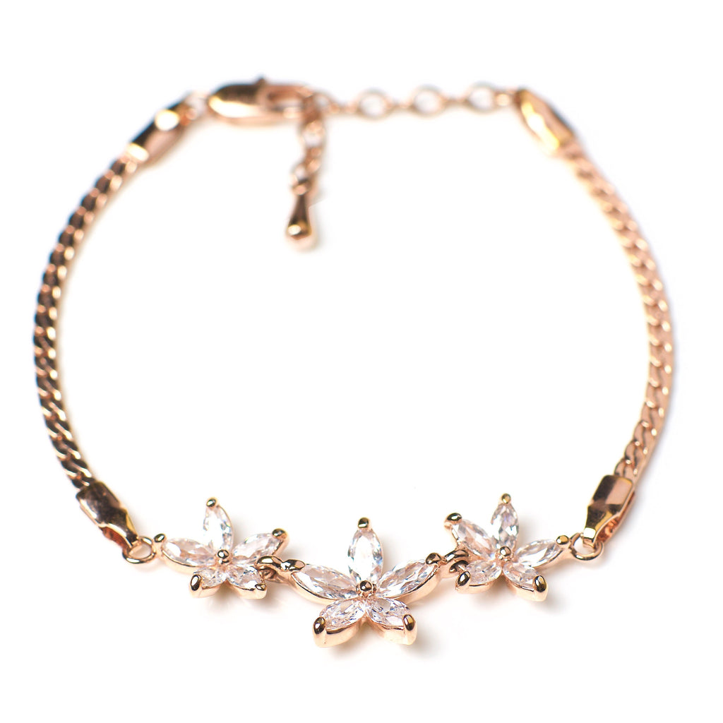 Nu mă uita - 18k rose gold plated bracelet with zirconium crystals 2