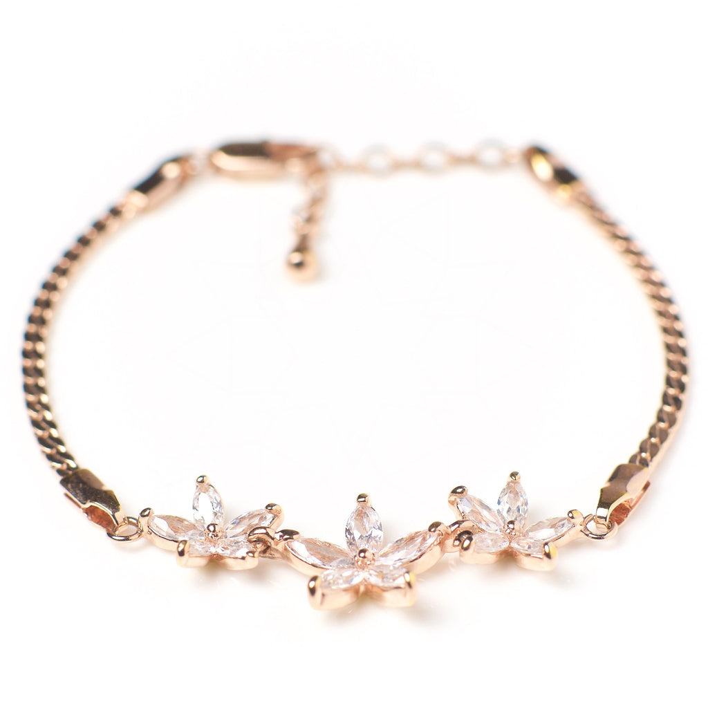 Nu mă uita - 18k rose gold plated bracelet with zirconium crystals 3