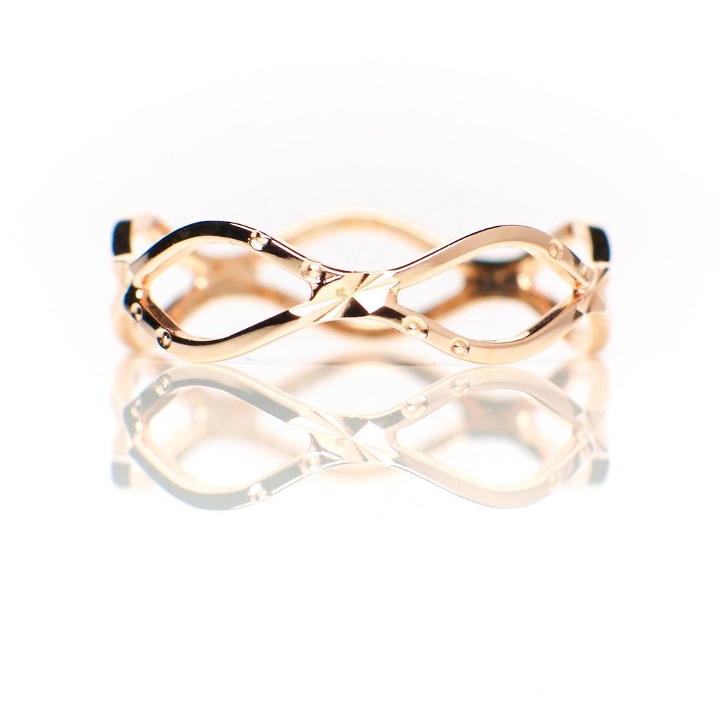Waves - 18k rose gold plated ring 1