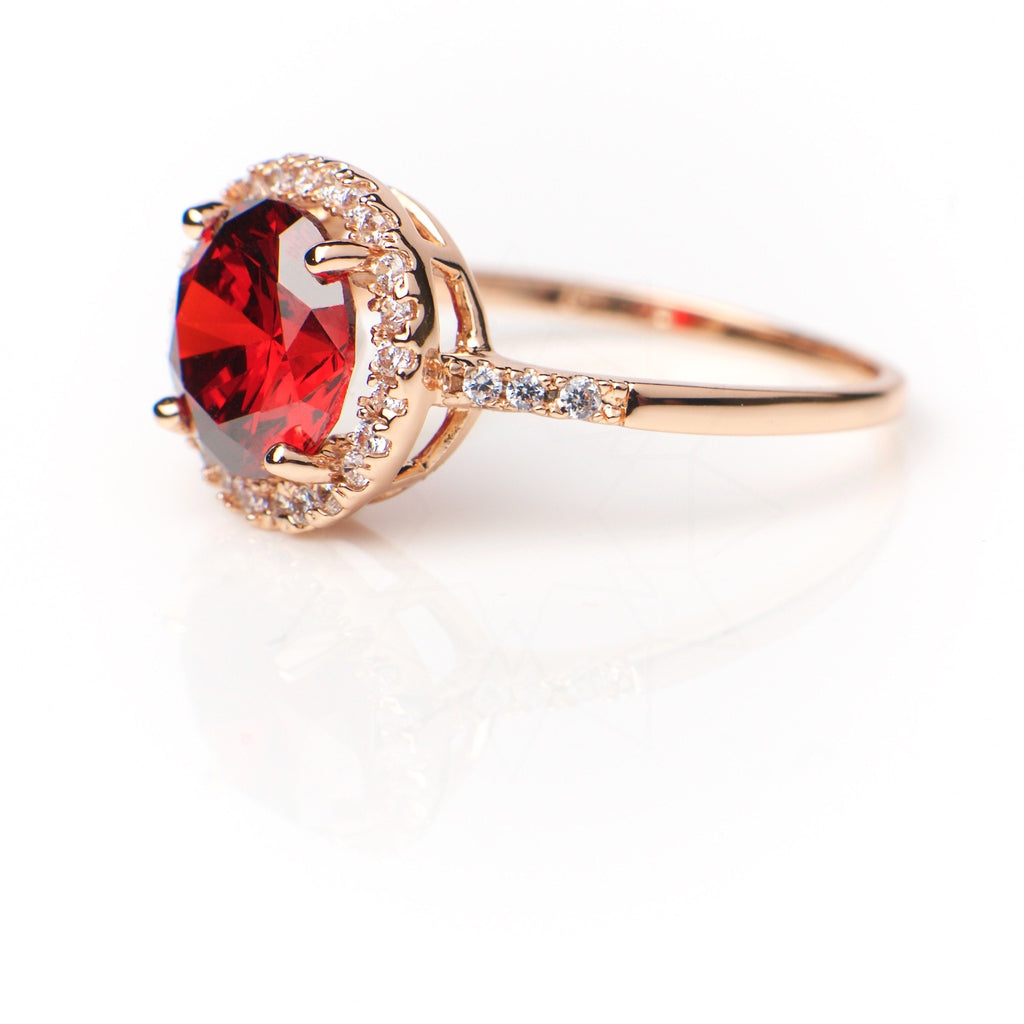 Venus Red - 18k rose gold plated ring with zirconium crystals 2