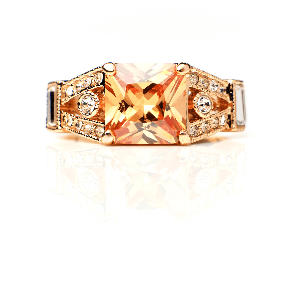 Pele - 18k rose gold plated ring with zirconium crystals 1