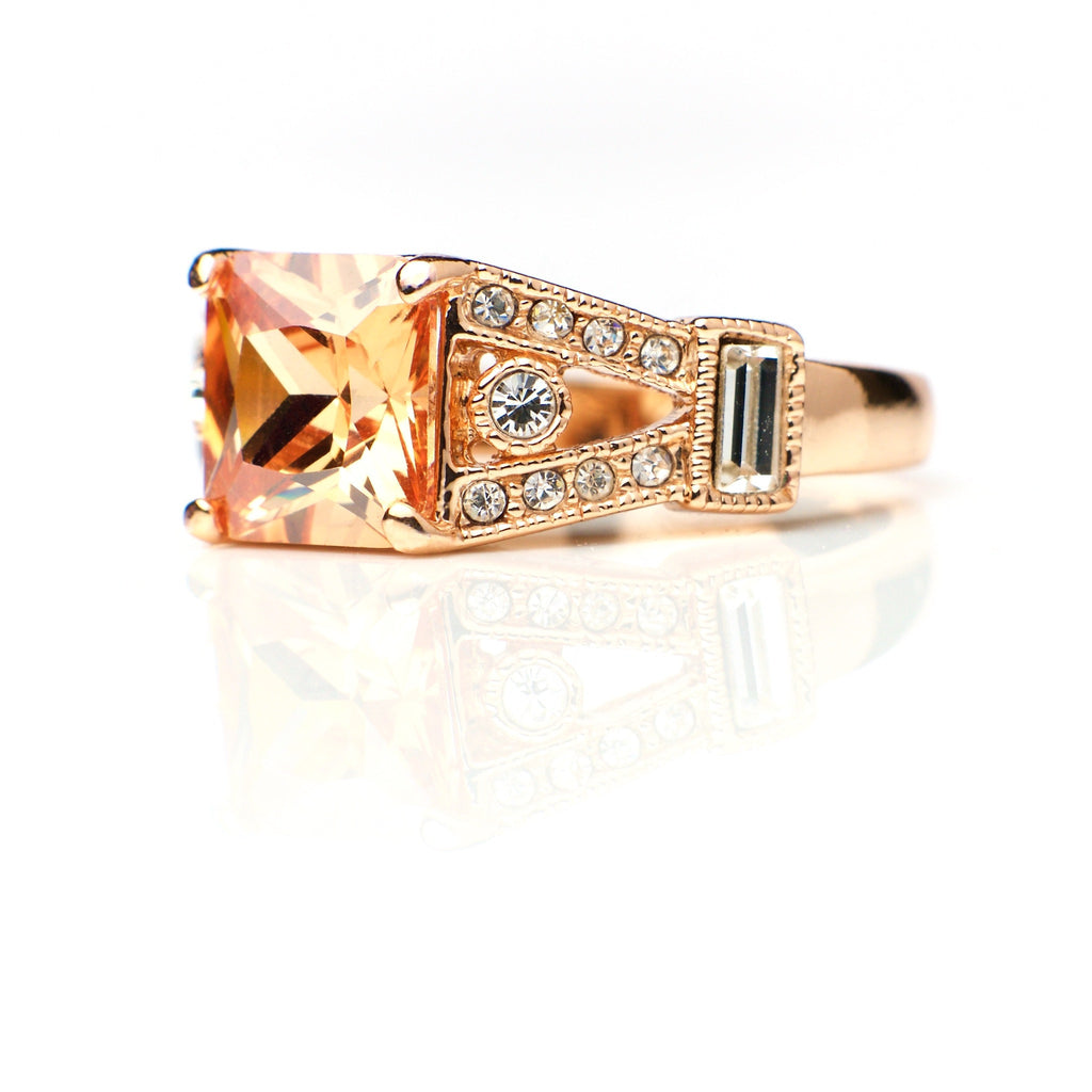 Pele - 18k rose gold plated ring with zirconium crystals 2