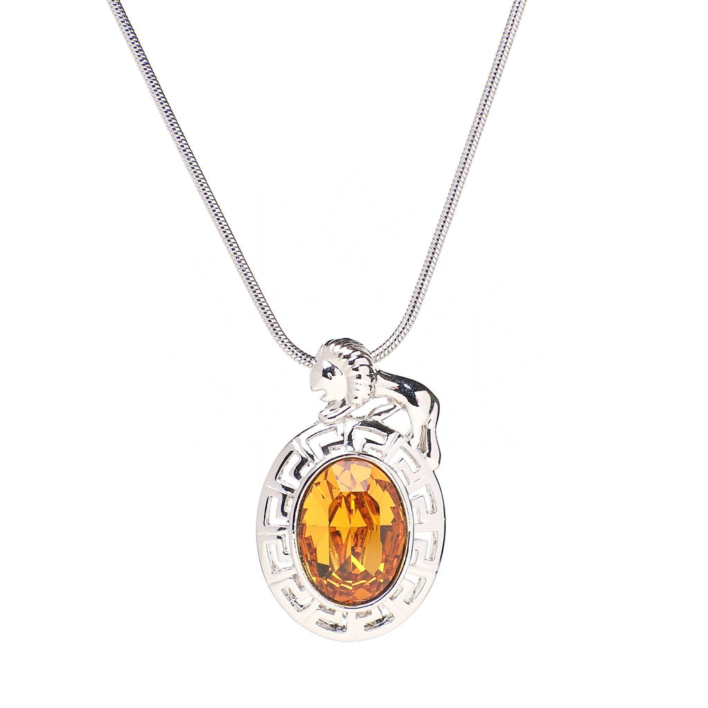 Lion - Platinum plated Zodiac necklace with central gold crystal 1