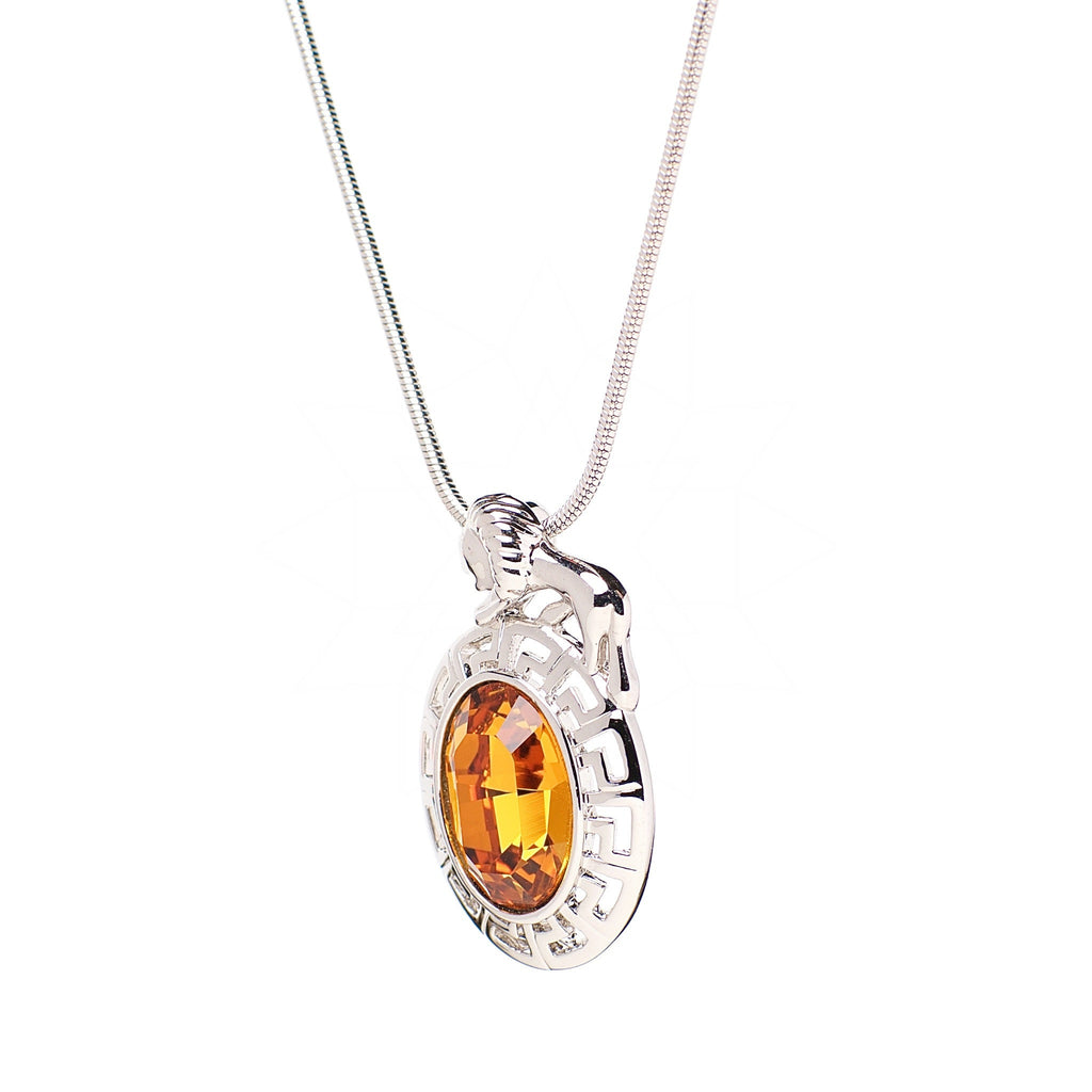 Lion - Platinum plated Zodiac necklace with central gold crystal 2