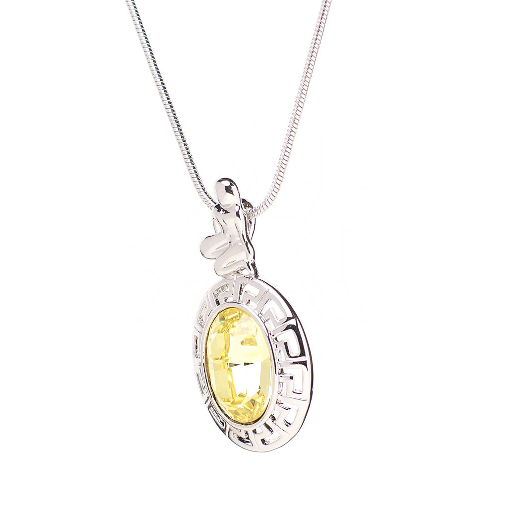 Virgo - Platinum plated Zodiac necklace with central yellow crystal 2