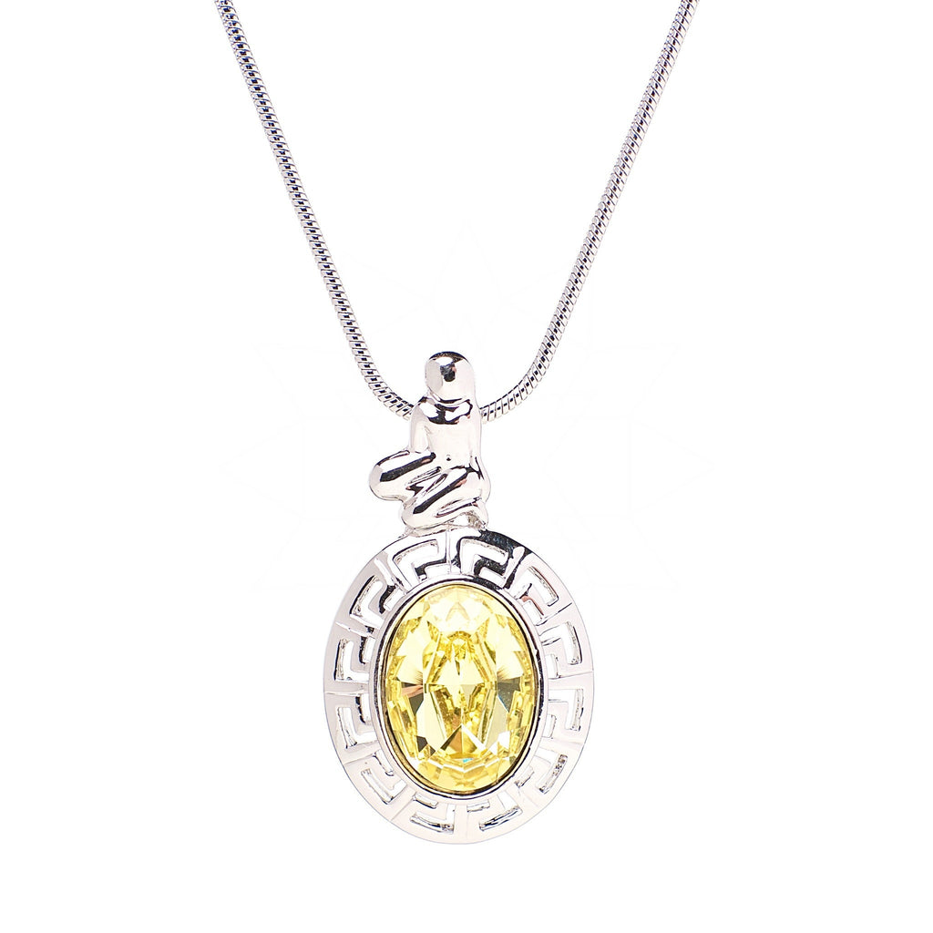 Virgo - Platinum plated Zodiac necklace with central yellow crystal 1