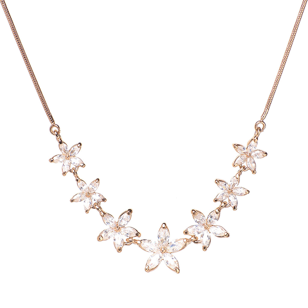 Nu mă uita - 18k rose gold plated necklace with zirconium crystals 1