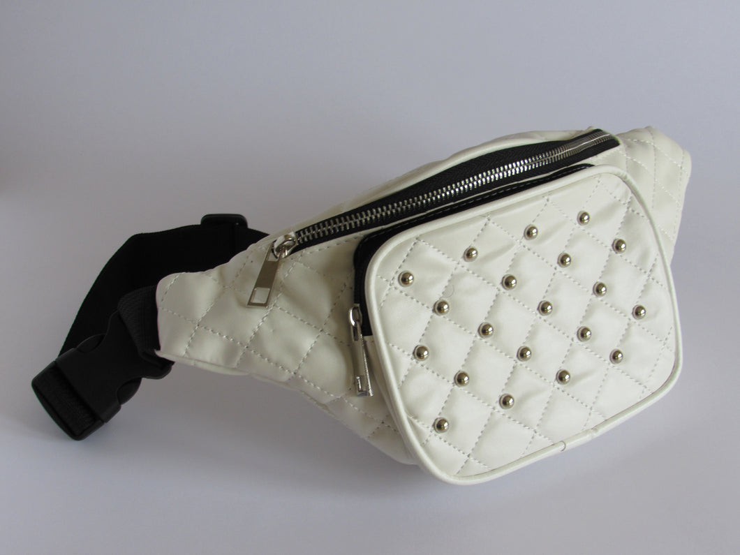 Off white quilted studded bumbag