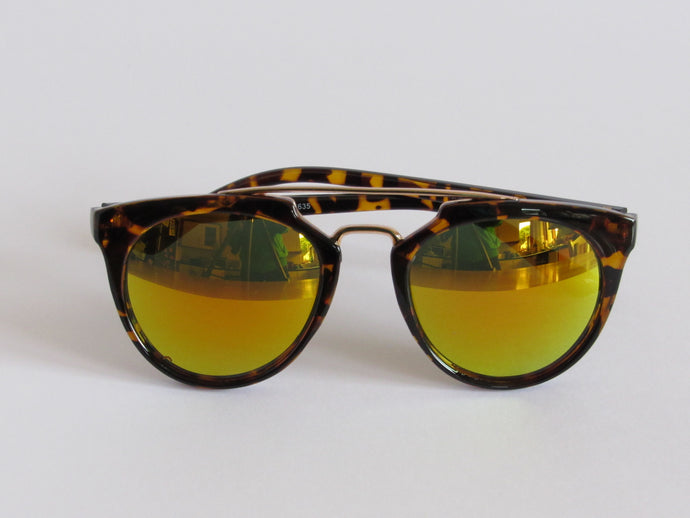Tortoise Shell Mirrored Sunglasses