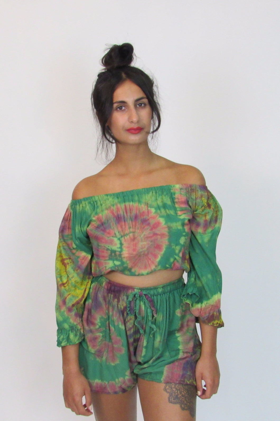 Green tie dye co-ord