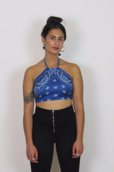 Blue halter neck bandana print top