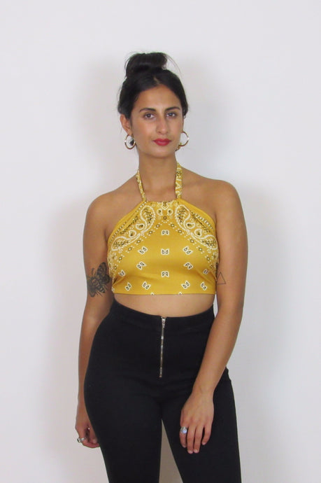Yellow halter neck bandana print top