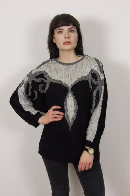 Silver & Black Embellished Knit