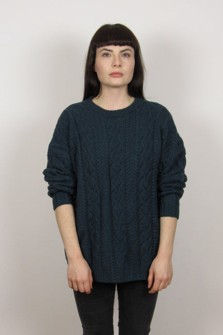 Dark green Grunge Knitted Sweater