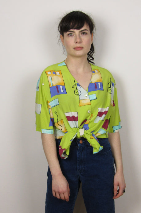 Lime Green 90's Blouse