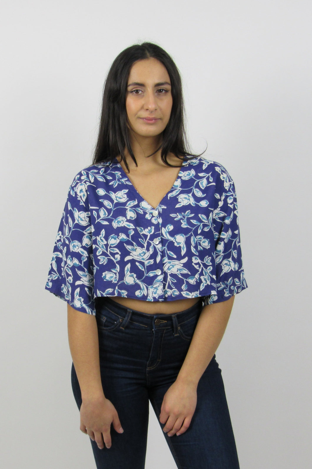 Indigo Floral Crop Top