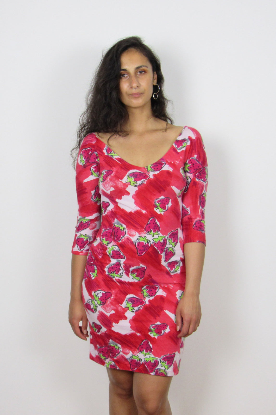 Strawberry Print 90's Dress