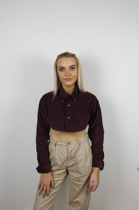 Maroon Cord Cropped Shirt