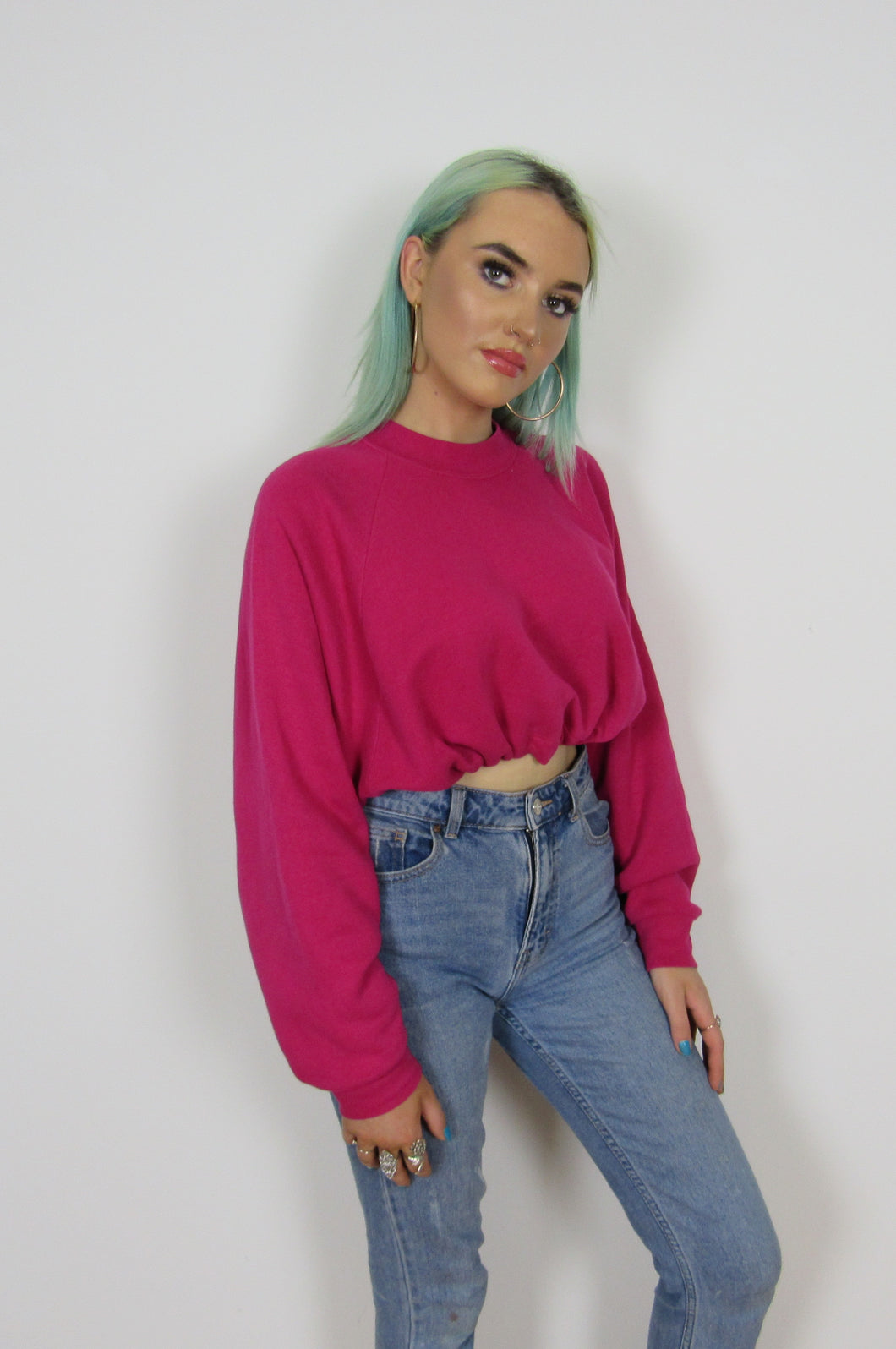 Pink Cropped Sweatshirt