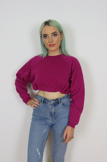 Berry Pink Crop Sweater