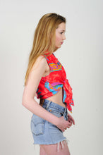 90's Print Knotted Crop Top