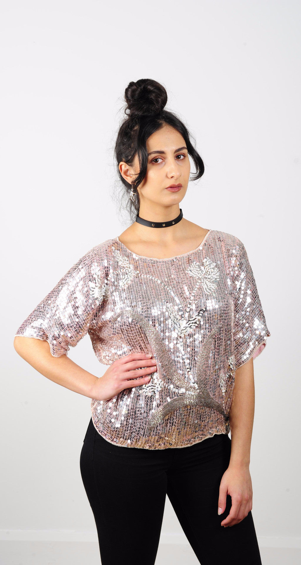 80's Sequin Top Rose Gold