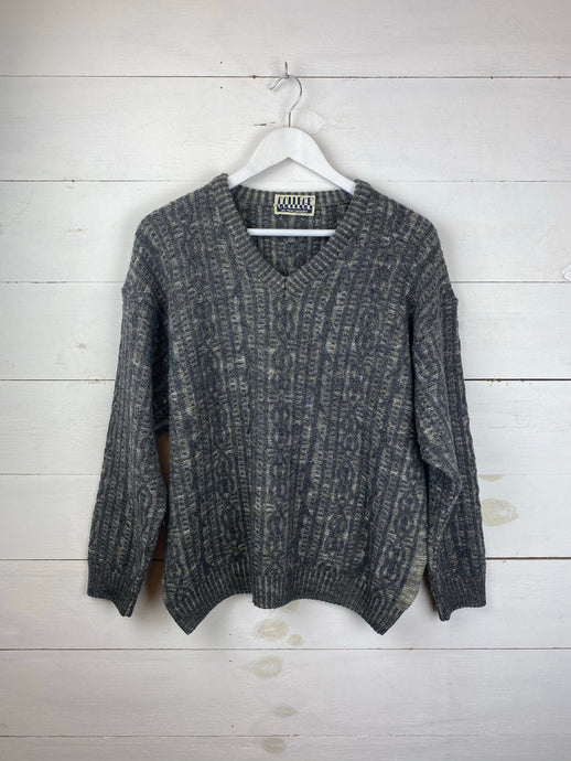 V-Neck Knitted Sweatshirt
