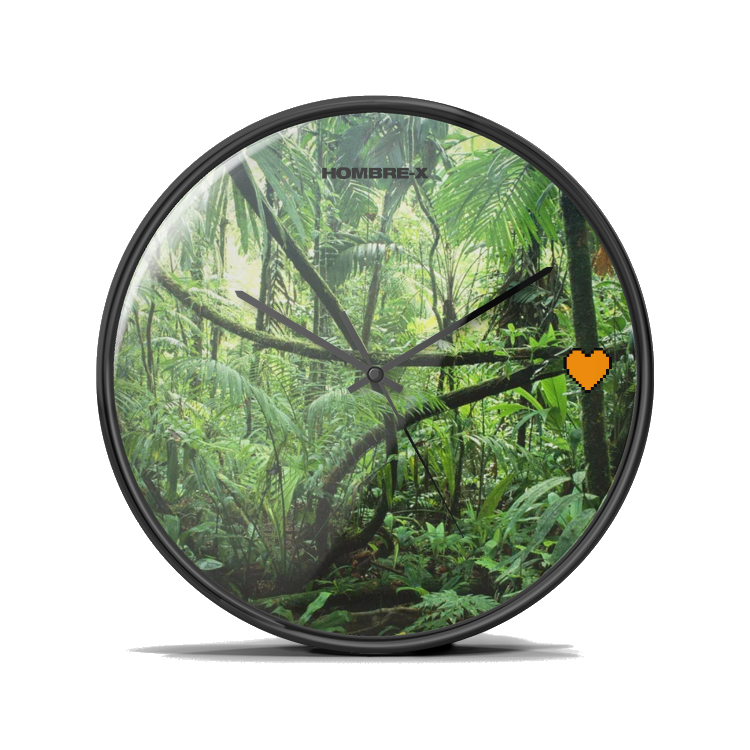 "HOMBRE-X ""Orange Heart"" Silent Wall Clock"