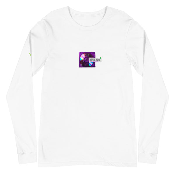 """BETA-DISC"" White Long Sleeve Tee"
