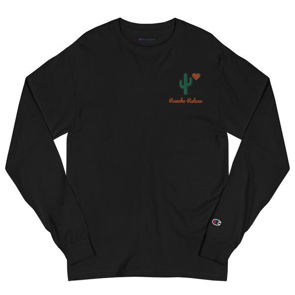 """Rancho Relaxo"" Cactus Embroidered Men's Champion Long Sleeve Shirt"