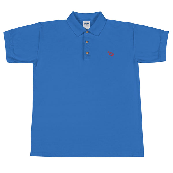 "LVLMERCHANTS ""Red"" Blue Embroidered Polo Shirt"