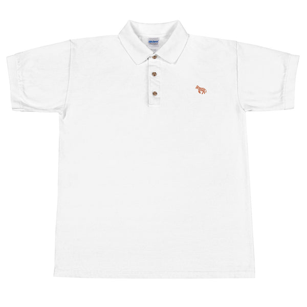"LVLMERCHANTS ""Orange"" White Embroidered Polo Shirt"