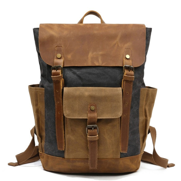 "HOMBRE-X ""Istanbul"" High Density Oil Wax Canvas & Leather Backpack"
