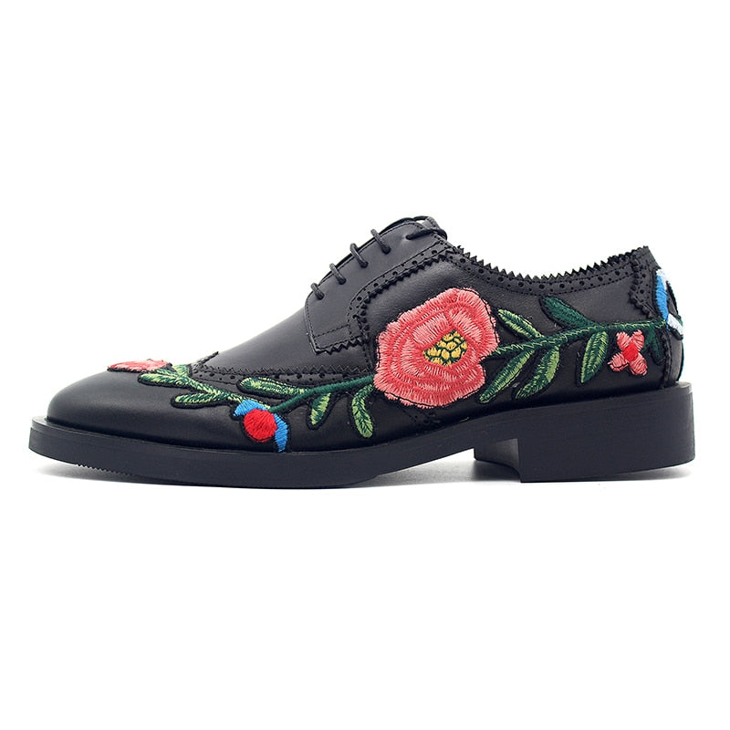 ROSE OF ENGLAND Embroidered Genuine Italian Leather Derby Shoe