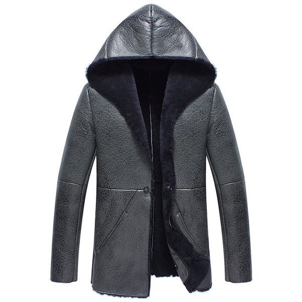 HOMBRE-X Gray Hooded Men's Sheepskin Shearling Fur Coat